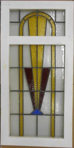 "LARGE OLD ENGLISH LEADED STAINED GLASS WINDOW Gorgeous Geometric 21"" x 42.5"""