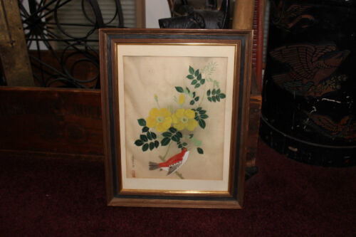 Superb Chinese Japanese Painting On Silk-Red Bird W/Yellow Flowers-Signed Stamp