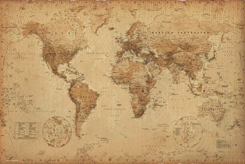 WORLD MAP - ANTIQUE STYLE POSTER - 24x36 GEOGRAPHY VINTAGE 33313