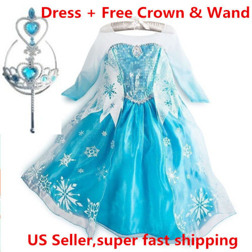 2015 Frozen Princess ELSA Dress Cosplay Party Dress Up + Free Crown & Wand