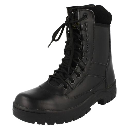 MENS TRUKA LACE UP LEATHER UPPER HIGH TOP COMBAT BOOTS 01639 IN BLACK