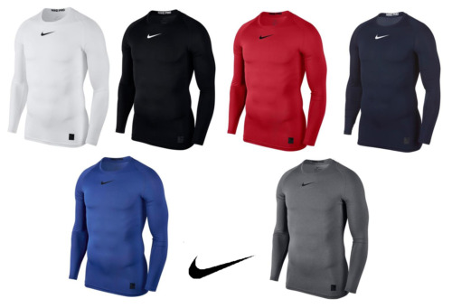 Mens Nike Pro Compression Crew Neck Long Sleeve T Shirt Base Layer Top S - XXL