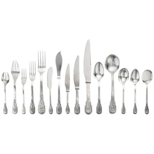 1920's Spanish Art Deco Jaume Mercade Queralt 916 Silver 196 Piece Flatware Set