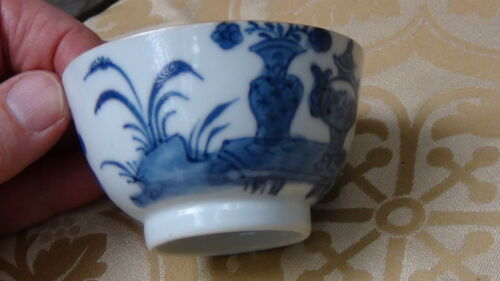 ANTIQUE 18c CHINESE PORCELAIN HAND PAINTED BLUE AND WHITE EXPORT TEA CUP