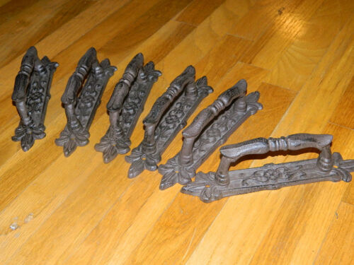 """SET/8 FRENCH STYLE RUSTIC IRON DOOR GATE 9"""" HANDLES PULLS"""