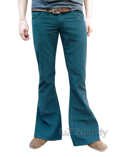 FLARES GREEN Mens Bell Bottoms Corduroy hippy hippie vtg indie Trousers 60s 70s  <br/> BRAND NEW. ALL SIZES 30R 30L 32R 34R 34L 36R 38R etc