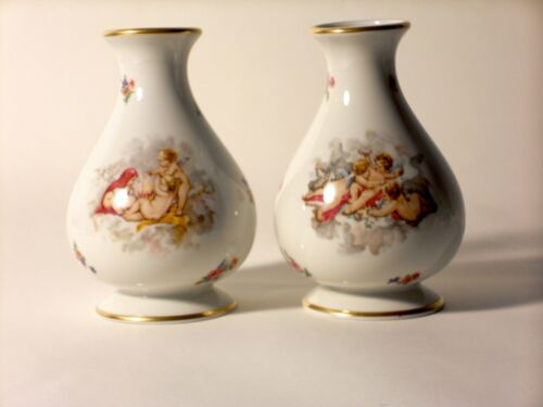 "Vintage French Limoges Porcelain 6"" Tall Matching PAIR Vase Cherubs France GOLD"