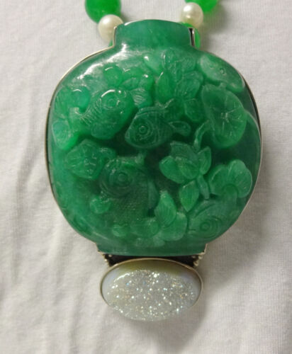 Chinese Hand Made Jade Carvings Gold Fish In Bowl Unique Pendant Necklace