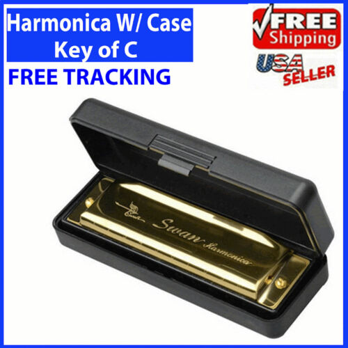 Swan Harmonica 10 Holes Key of C GOLDEN w/ Case Blues Harp Metal Steel NEW <br/> Free Shipping* Perfect for Blues Jazz Folk Great Gift