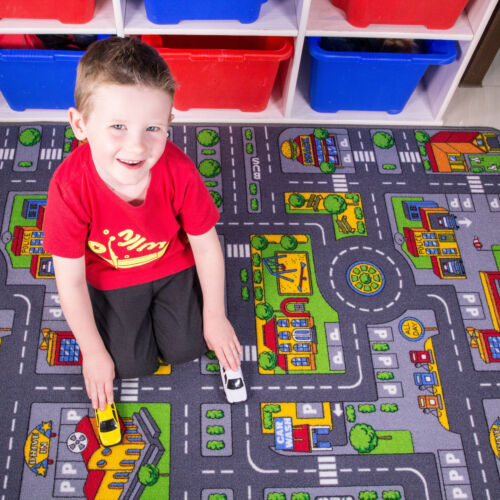 Children's Kids Rugs Town Road Map City Cars Toy Rug Play Village Mat 80 x 120cm