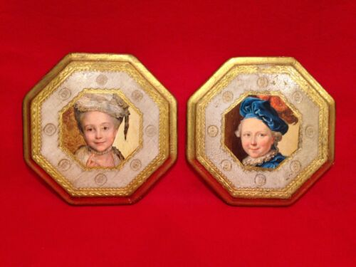 VINTAGE HAND PAINTED WALL PICTURES GOLD PAINTED ON WOOD MADE IN ITALY (SET OF 2)
