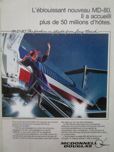 5/1984 PUB MCDONNELL DOUGLAS MD-80 AIRLINER AIRLINES PASSAGER ORIGINAL FRENCH AD