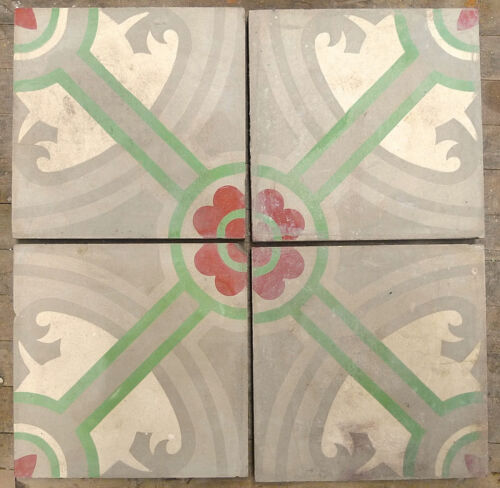 Cement Tile Set of 4 Geometric Vintage