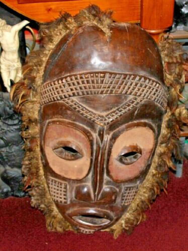 Antique African Hand Carved Tribal Mask W/Feather Rim-Extremely Large-Ape LQQK