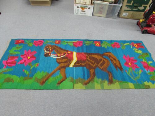 "Vintage Latin American Weaving Horse Kilim Hand Woven Wool Rug Tapestry 86""x33"""