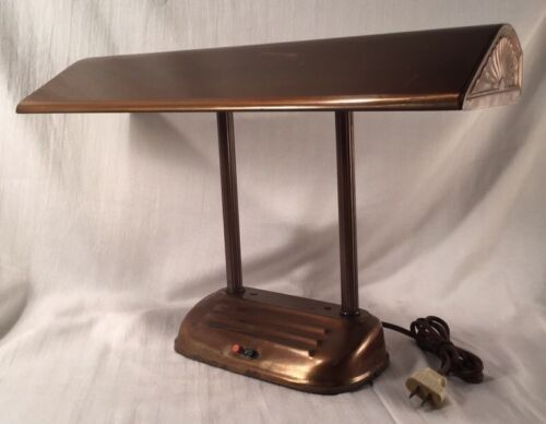 Vtg Art Deco Style Copper Finish Fluorescent Office Desk Lamp Industrial Student