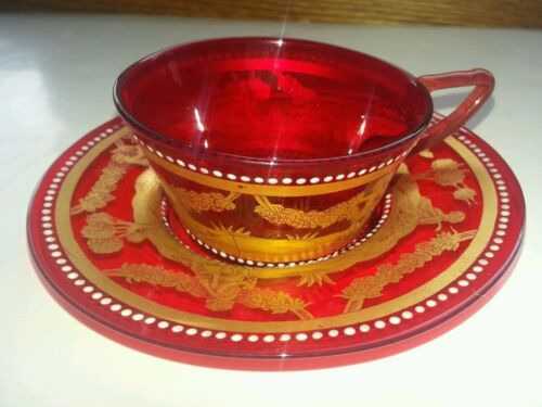 Antique Red Venetian Glass gilded Gold Jewelled 1890s demitasse Set Saucer Cup
