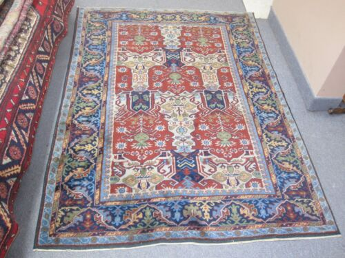 Semi-Antique Vintage  Russian Red Kazak Rug 4'-0 x 5'-6 Hand Knotted Wool
