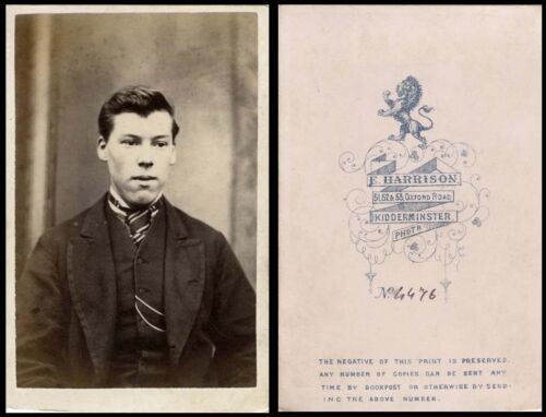 ca 1870s CDV PHOTO PORTRAIT OF A HANDSOME MAN & KIDDERMINSTER, ENGLAND STUDIO