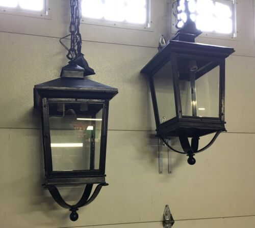 """2 Victorian Antique HERWIG Huge 28"""" Tall Exterior Hanging Lights w/Glass Panels"""
