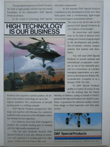 11/1986 PUB DAF SPECIAL PRODUCTS NETHERLANDS TRUCK F-16 HELICOPTER ORIGINAL AD