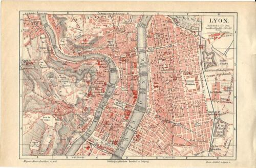 Carta geografica antica LIONE LYON pianta della città 1890 Old antique map