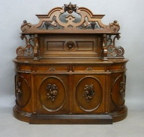 Rare Circa 1855 Walnut Sideboard by Alexander Roux, New York City
