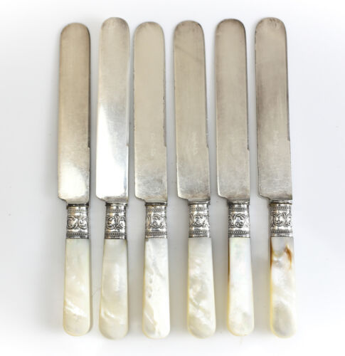 6pc Set Shreve & Co. Sterling Silver & Mother of Pearl Dinner Knives, c1930