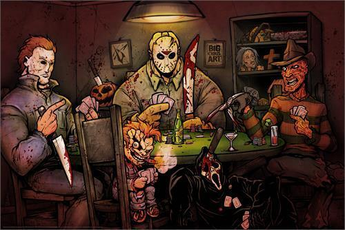 SLASHERS PLAYING POKER - ART POSTER - 24 x 36 HORROR MOVIE BIG CHRIS 51777