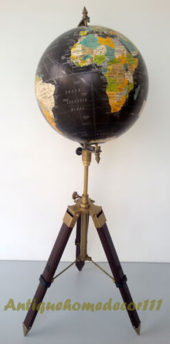 """Industrial Vintage Style World Globe 12"""" On Metal Tripod Stand Authentic Table"""