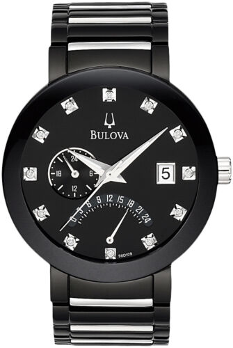 Bulova Men's 98D109 Quartz Diamond Markers Black Bracelet 40mm WatchWristwatches - 31387