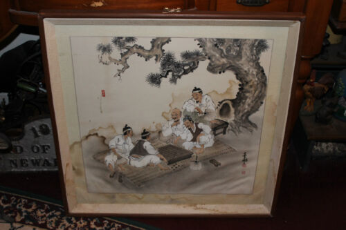Chinese Japanese Water Color Painting Drawing Men Playing Checkers-Signed Stamp