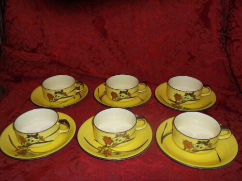 ANTIQUE KORONASHA 6 PLACE SETTING YELLOW PORCELAIN CUPS AND SAUCERS