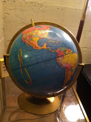 "Vintage 1965 Cram's Imperial Globe 12"" With Plastic Base"