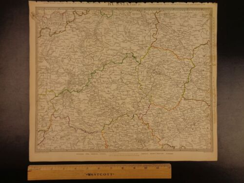 1844 BEAUTIFUL Huge Color MAP of Russia St Petersburg to MOSCOW Smolensk ATLAS