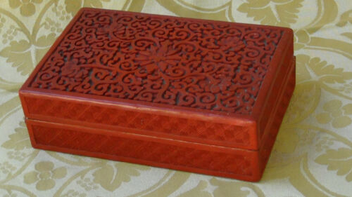 ANTIQUE CHINESE CARVED RED LACQUERED CINNABAR BOX FLORAL DESIGN