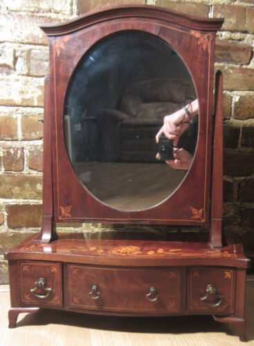 Antique Wood Pivoting Shaving Mirror Serpentine Style Floral Inlay Obelisk Ends