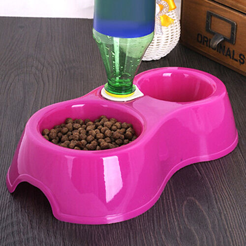 Pets Dog Cat Automatic Food Supply Bowl Bottle Dishes Dual Water Drinking Feeder