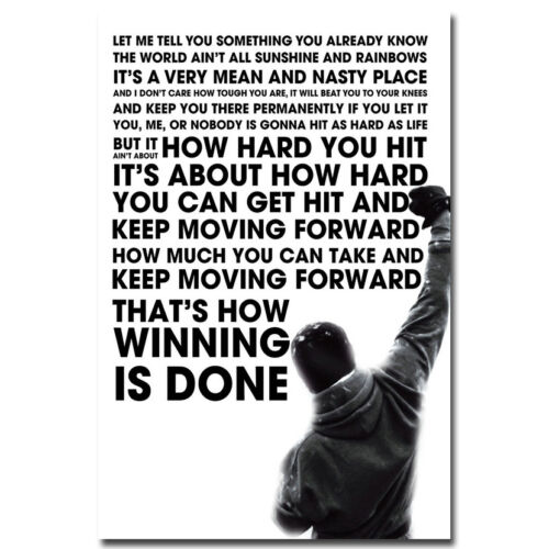 """Rocky Balboa Motivational Quote Silk Poster 12x18 24x36"""" Sylvester Stallone"""