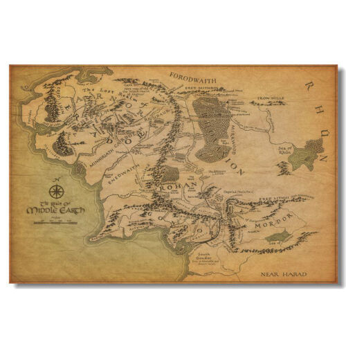Map Of Middle Earth Map The Lord Of The Rings Movie Silk Poster 12x18 24x36 inch