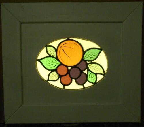 """OLD ENGLISH LEADED STAINED GLASS WINDOW Cute Fruit Cirlcle 17.5"""" x 15.25"""""""