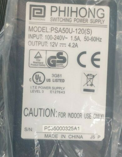 PHIHONG PSA50U-120(S) SWITCHING POWER SUPPLY 12V 4.2A (R5S4.7)