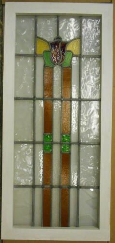 """LARGE OLD ENGLISH LEADED STAINED GLASS WINDOW Tall Floral 19"""" x 41.5"""""""