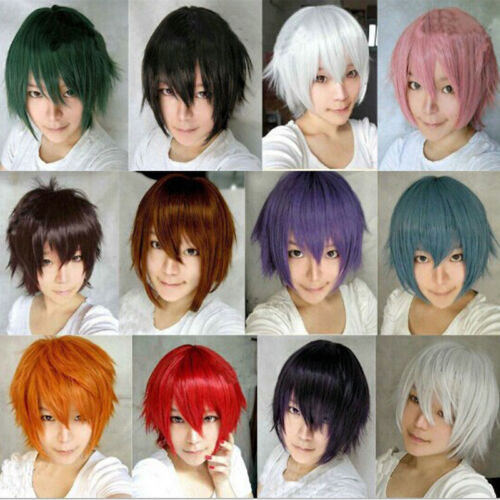 Men Anime Fashion Short Wig Cosplay Party Straight Hair Cosplay Full Wigs+Cap