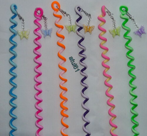 HAIR SPIRAL WRAPS TWIST WITH COLOUR BUTTERFLY BEAD HAIR ACCESSORIES WEAVING NEW