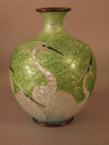 JAPANESE CLOISONNE VASE WITH CRANES  ON GREEN GROUND  CIRCA 1900