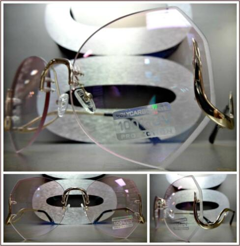 e51ad433ee600 OVERSIZED VINTAGE RETRO Style SUN GLASSES Upside Down Gold Frame Pink Clear  Lens