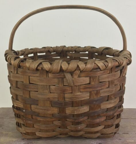 Antique Maine Passamaquoddy Indian Large Gathering Basket Exceptional Condition