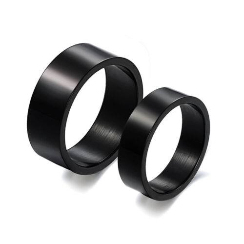 Stainless Steel Simple Classic Couple Rings Black