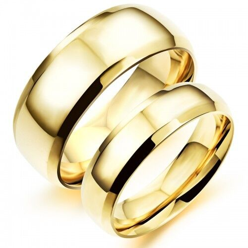 18K Gold GP Simple Classic Couple Rings White gb0615479a